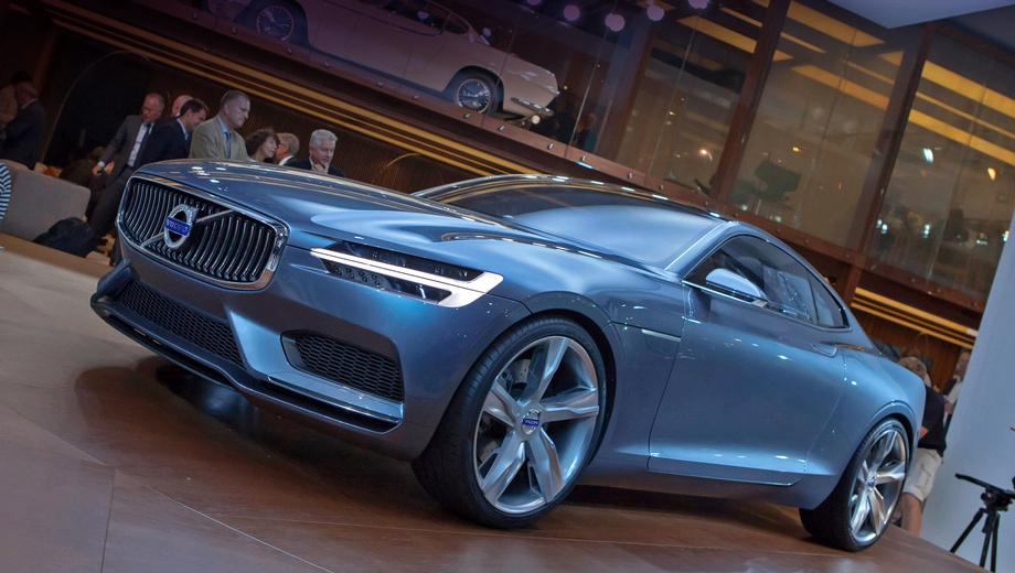 Volvo concept coupe. Т-образные светодиодные дневные ходовые огни станут одной из новых отличительных черт будущих моделей бренда. И ещё одна придумка  — решётка радиатора, которую компания именует плавающей, парящей.