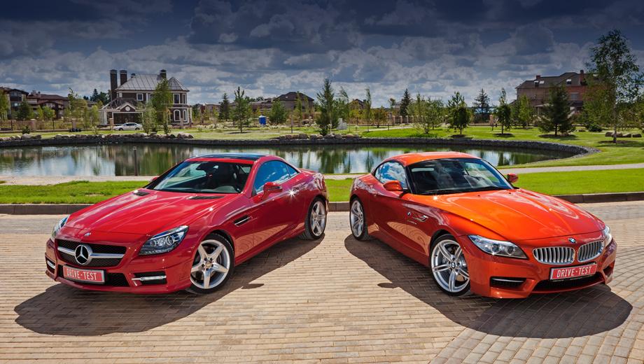 Bmw z4,Mercedes slk. В России родстер Mercedes SLK продавался всегда лучше двухдверки BMW Z4. Например, в 2012 году наши соотечественники приобрели 148 открытых Мерседесов и 73 «зетки». А общие цифры продаж выглядят так: с июля 2011 года в России приобрели 238 нынешних SLK, а с февраля 2009-го — 387 Z4 серии E89 (из них 39 — в исполнении is).