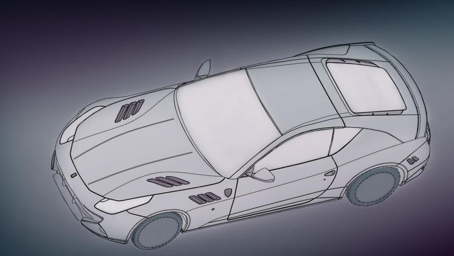 Ferrari ff. Автомобиль отличается от исходника не только формой крыши. Он получил изменённые бамперы, крылья и капот с дополнительными вентиляционными прорезями.