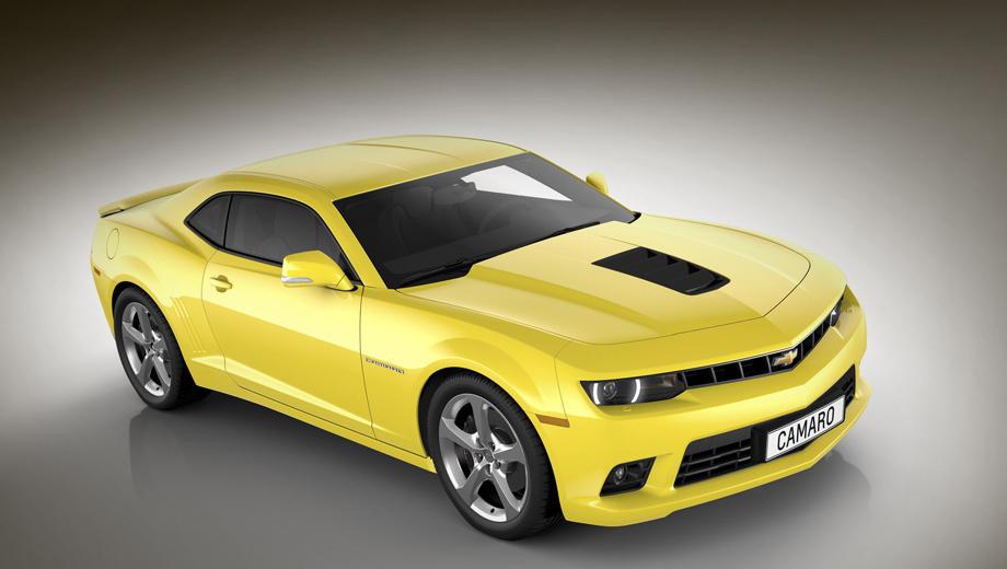 Chevrolet camaro. Новые вентиляционные воздухозаборники на капоте способствуют уменьшению нагревания двигателя.