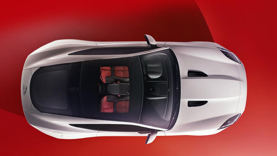 Jaguar f-type coupe. Форма верха F-Type Coupe практически повторяет «купол» у концепта C-X16, с которого, собственно, и пошёл нынешний F-Type, но показанный ныне новичок щеголяет панорамной крышей.