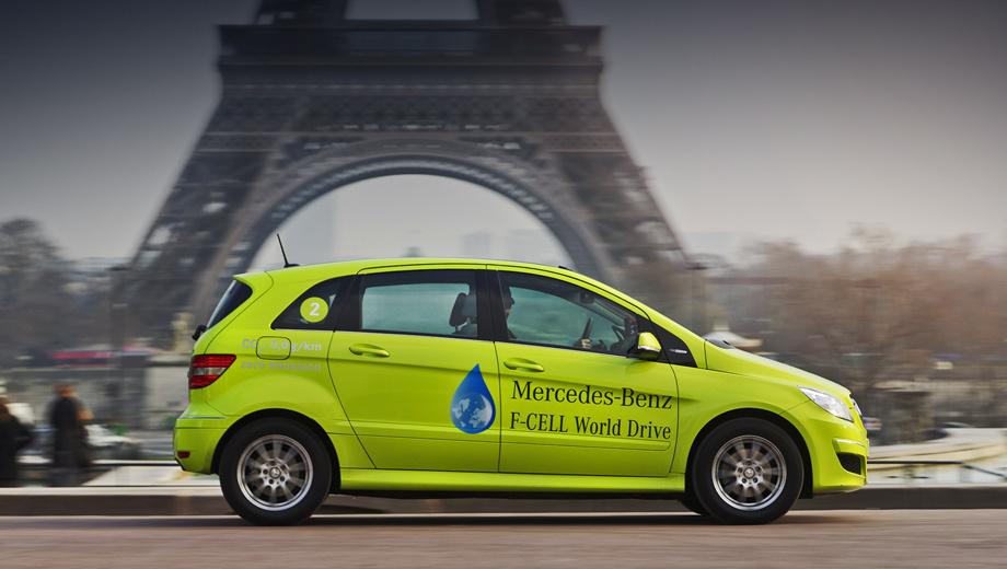 Mercedes b,Mercedes b f-cell. Абсолютно нормальная машина во всех отношениях. Но на 100 км пробега она тратит около килограмма водорода (что эквивалентно трём литрам дизтоплива) и вообще не выбрасывает гадостей.