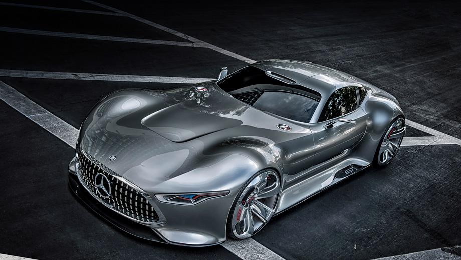 Mercedes amg vision gran turismo. Концепт получил двери типа «крылья чайки». Может быть, с какой-то грядущей серийной моделью компания к ним снова вернётся. Ведь «крылатое» купе SLS в следующем году уйдёт на покой.
