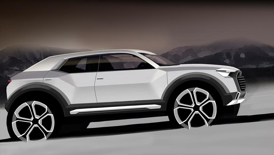 Audi q1. Пока этот скетч — единственное официальное изображение новинки. Конечно, судить о внешности серийной машины пока рано.