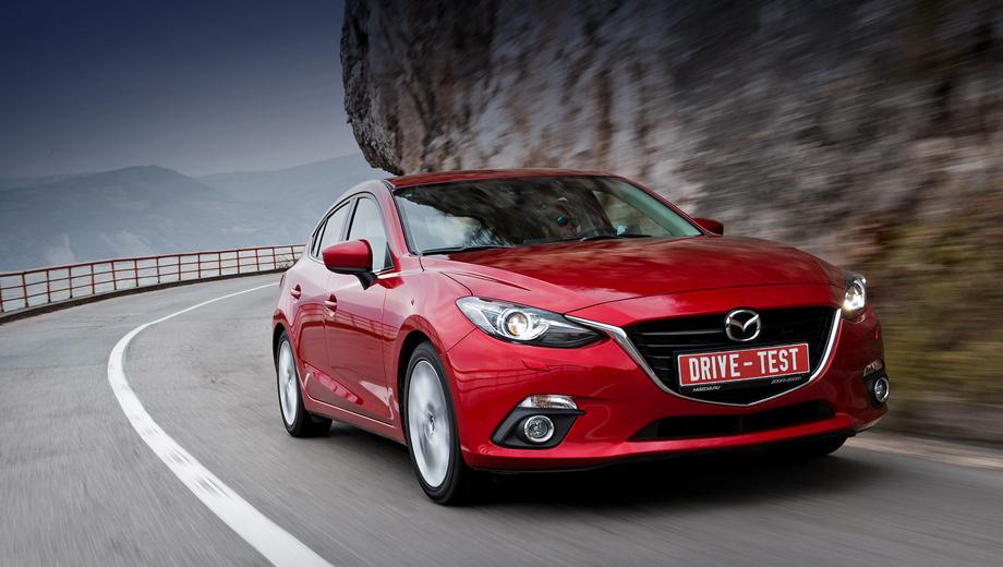 Mazda 3. В России Mazda3 продаётся с 1 ноября 2013 года в виде хэтчбеков и седанов. Три мотора на выбор (104, 120 и 150 л.с.), два типа коробок передач и четыре комплектации. Цены на хэтчбек составляют 700–960 тысяч рублей. Машины для российского рынка будут поставляться из Японии, периодичность ТО у дилера — раз в год или каждые 15 тысяч километров.