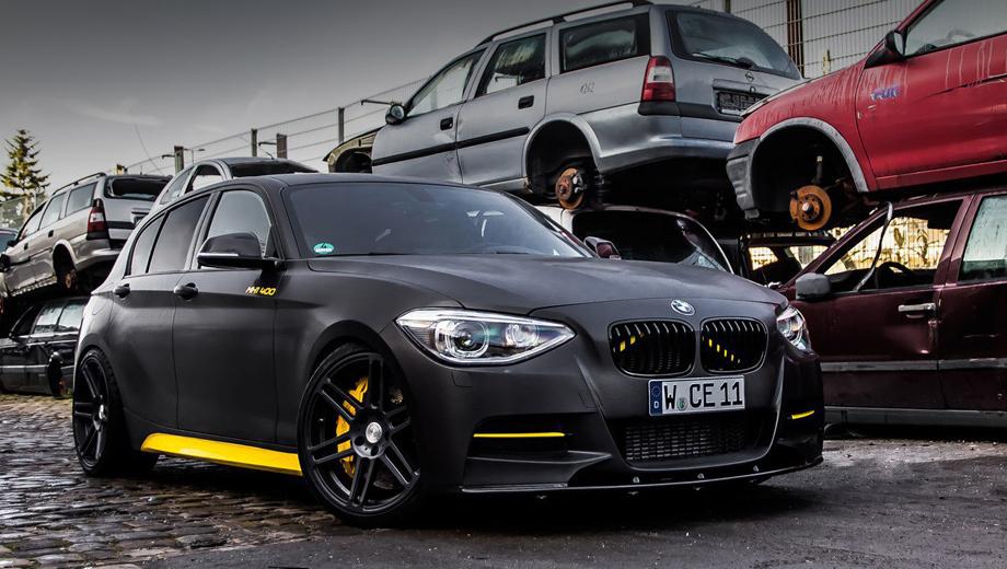 Bmw 1. Матовый чёрный окрас и ярко-жёлтые акценты недвусмысленно намекают на скрытую в машине дьявольщинку.