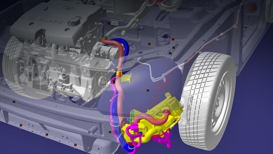 Lada priora. Устройство разместилось слева под передним бампером. Приора с ним прошла цикл пробеговых и климатических испытаний, а также краш-тесты, уверяет производитель.