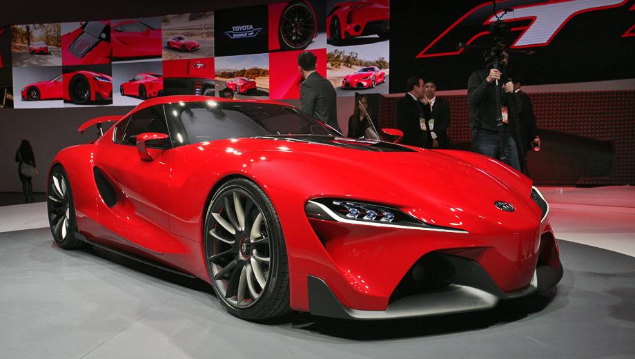 Toyota ft-1,Toyota concept. Пропорции кузова пока — дань традиции. Мол, так же были скомпонованы тойотовские спорткары в прошлом. С рядными «шестёрками» спереди и задним приводом. Сейчас японцы якобы сами не знают, что в результате окажется под длинным капотом.