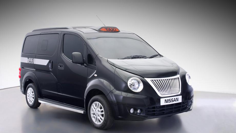 Nissan nv200. Машина получила новый бампер, светотехнику и решётку радиатора. Подсветка знака «Такси» — светодиодная.