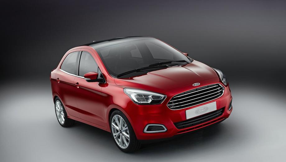 Ford figo concept,Ford ka concept sedan,Ford ka. Новому компактному седану для Индии дизайнеры подарили решётку радиатора в стиле последних Фордов. Идёт ли «нос» «а ля Астон Мартин» столь маленькой машине — большой вопрос.