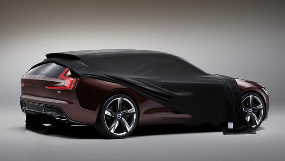 Volvo concept estate. Официальных снимков шоу-кара пока нет, но фирма Stutterheim, сделавшая водонепроницаемый чехол для автомобиля, распространила несколько тизеров новинки, из которых нам удалось собрать единое изображение.
