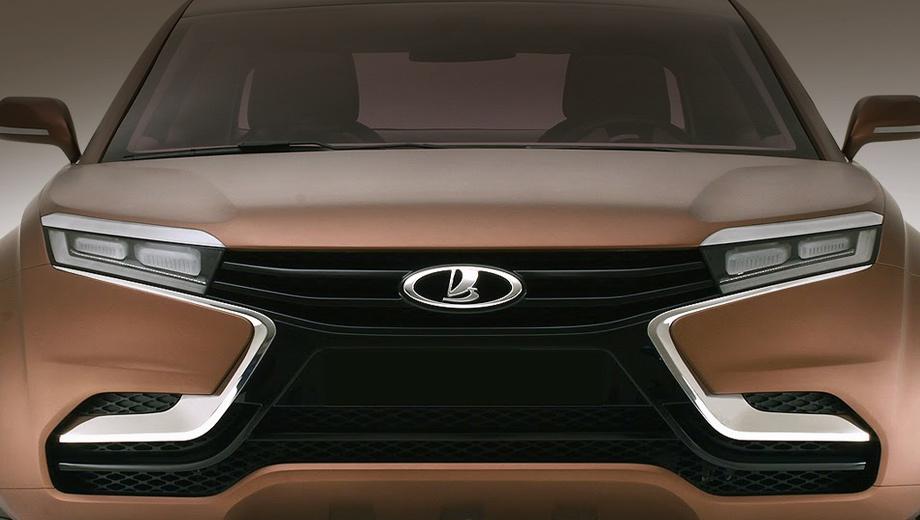 Lada priora,Lada vesta. Буква Х, которую образуют фары, решётка радиатора и линии на переднем бампере, — главная черта новых автомобилей Lada, в том числе Весты.