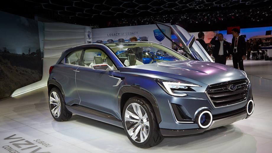 Subaru viziv,Subaru viziv 2,Subaru concept. То, что сразу бросается в глаза, так это новая оптика, включая противотуманки, которых не было на предыдущем шоу-каре.