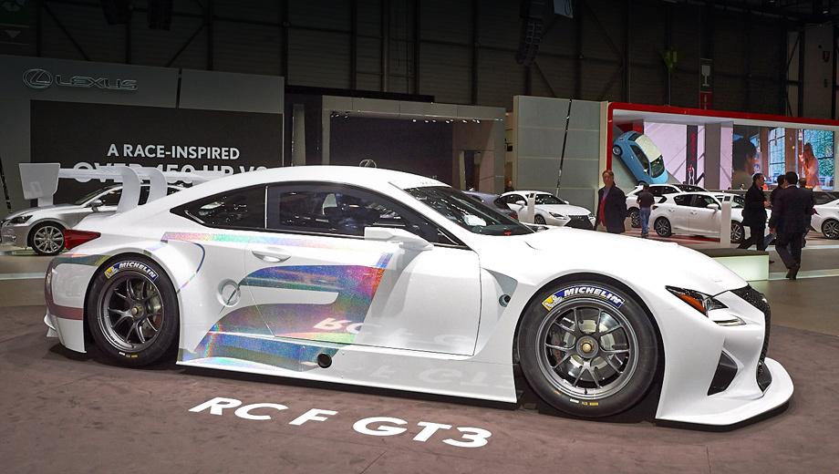 Lexus rc,Lexus rc f,Lexus rc f gt3. Спортпрототип длиннее, шире и ниже стандартной двухдверки. Габаритная длина RC F GT3 — 4705 мм, ширина — 2000, высота — 1270 мм.