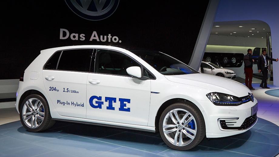 Volkswagen golf,Volkswagen golf gte. Бензоэлектрический Golf GTE от «собратьев» отличает оригинальная решётка радиатора перечёркнутая синей полосой. Передний бампер у серийной машины сделан по мотивам версии GTI, но с диодными полосками, повторяющими таковые от прототипа.