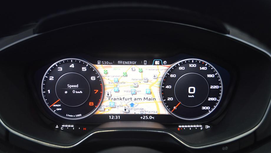 Audi r8. Комбинация приборов в новом TT одновременно выполняет и функции, обычно закреплённые за экраном на центральной консоли. Это решение потребовало тщательного подбора графики и пересмотра меню.
