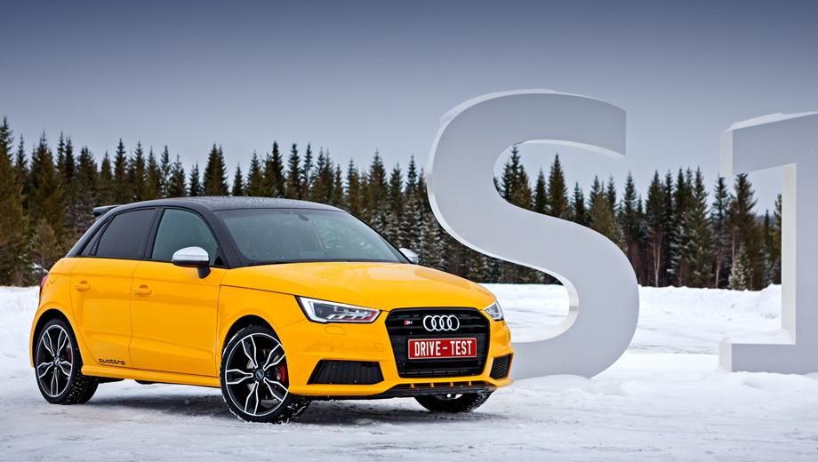 Audi s1. У S1 оригинальный передний бампер с крупными воздухозаборниками, решётка радиатора индивидуального кроя и фары с красными вставками внутри.