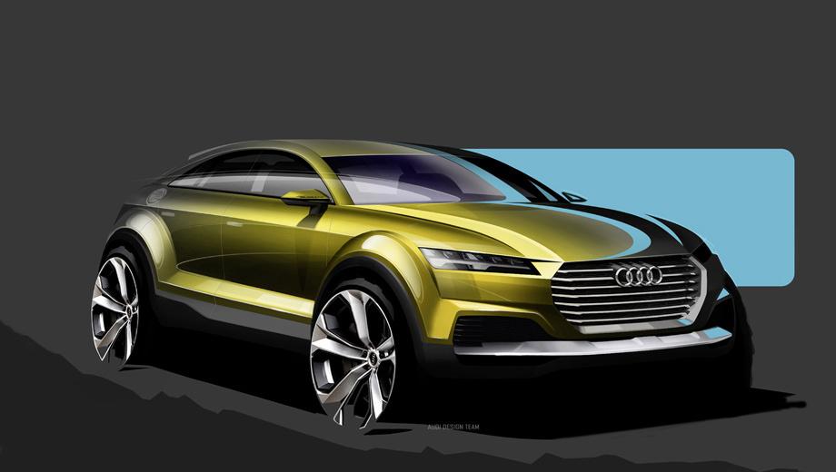 Audi tt. Пояснений к официальным рисункам нет. Однако выводы можно сделать на основе ранее всплывавших сведений. А все детали загадочного шоу-кара раскроются 20 апреля, в день прессы на Пекинском автосалоне.