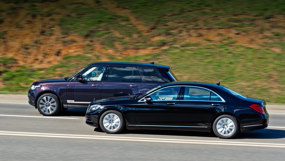 Mercedes s,Land rover range rover. Удлинённый Range Rover LWB на 725 тысяч рублей дороже стандартного, цены начинаются с 4 921 000 рублей за TDV6 (248 л.с.). Наиболее доступный Mercedes S-класса — с бензиновой «шестёркой» (333 л.с.) — стоит 4 220 000 рублей. У обеих машин богатое базовое оснащение.