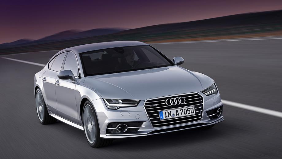 Audi a7,Audi s7. Светодиодная оптика — стандарт. За доплату можно будет получить матричный головной свет, сводящий к минимуму ослепление встречных водителей. В комплекте с матричными фарами идут передние динамические поворотники, которые бегущими огоньками показывают направление движения. Динамические указатели поворотов сзади тоже входят в базовое оснащение.