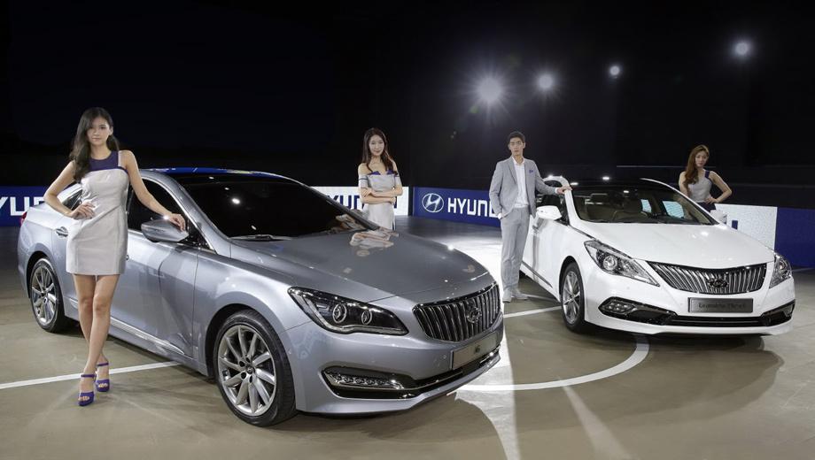 Hyundai grandeur,Hyundai azera. AG (на фото слева) появится на домашнем рынке во второй половине этого года и займёт нишу между моделями Genesis и Grandeur. Последний в модернизированном виде появится в шоу-румах корейских дилеров в 2015-м.