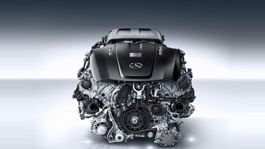 Mercedes amg gt. Новый мотор V8 обладает рабочим объёмом 3982 см³. Угол развала блока цилиндров — классические 90 градусов.