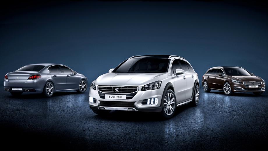 Peugeot 508,Peugeot 508 rxh. Седан 508 появился в 2010 году (продажи начались с 2011-го), после чего компанию ему составили обычный универсал, а также его дизель-электрический полноприводный и приподнятый вариант. Через год гибридную установку вживили и седану. Теперь же они все перекроены одновременно.