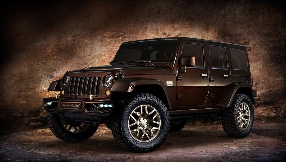 Jeep wrangler. Американцы умеют придать новизну давно знакомому образу. Вспомним концепт Jeep Wrangler Sundancer, показанный нынешней весной на Пекинском автошоу. У него появились многослойный шоколадный «металлик» с золотистыми и бронзовыми акцентами, новые бампера в цвет кузова со светодиодной оптикой, бронзовая тонировка стёкол, золотистые 20-дюймовые колёсные диски.