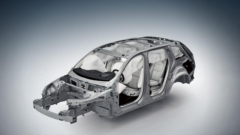 Volvo xc90. В кузовной структуре нового Volvo XC90 в пять раз больше высокопрочных сталей (в том числе борсодержащей горячей ковки) по сравнению со старым. На их долю приходится около 40% процентов веса кузова.