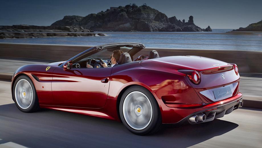 Ferrari la,Ferrari california. С нуля до 100 км/ч кабриолет Ferrari California T разгоняется за 3,6 с. Максимальная скорость ограничена 316 км/ч.