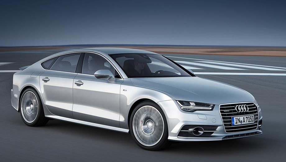 Audi a7. Главное новшество рестайлинговых A7 — другая оптика. За доплату будет доступен и матричный головной свет.