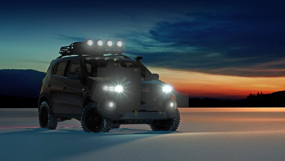 Chevrolet niva. Создатели шоу-кара намерены подчеркнуть внедорожный потенциал модели. Концепт получит шины All Terrain размерности 235/70/R16, защиту двигателя и переднего моста, шноркель, багажник с запасным колесом на крыше и дополнительную гирлянду фар.