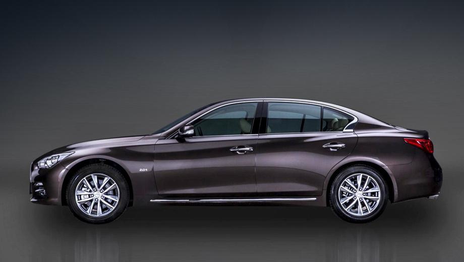Infiniti q50. Трудно не заметить прибавку почти в 50 мм: силуэт длиннобазного седана Q50 сильно изменился.
