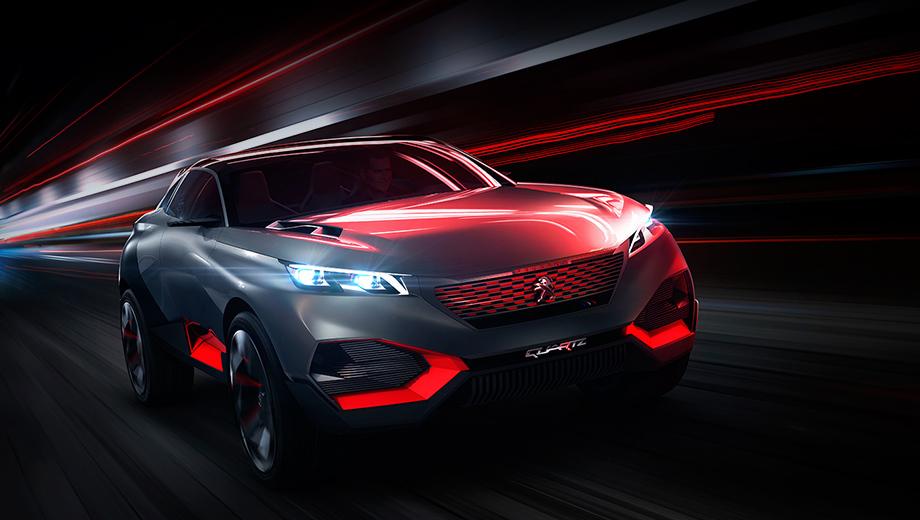 Peugeot quartz. На массивных колёсах диаметром 23 дюйма покоится автомобиль длиной 4,5 метра и шириной 2,06 м. Компания Peugeot привезёт его на Парижское мотор-шоу.