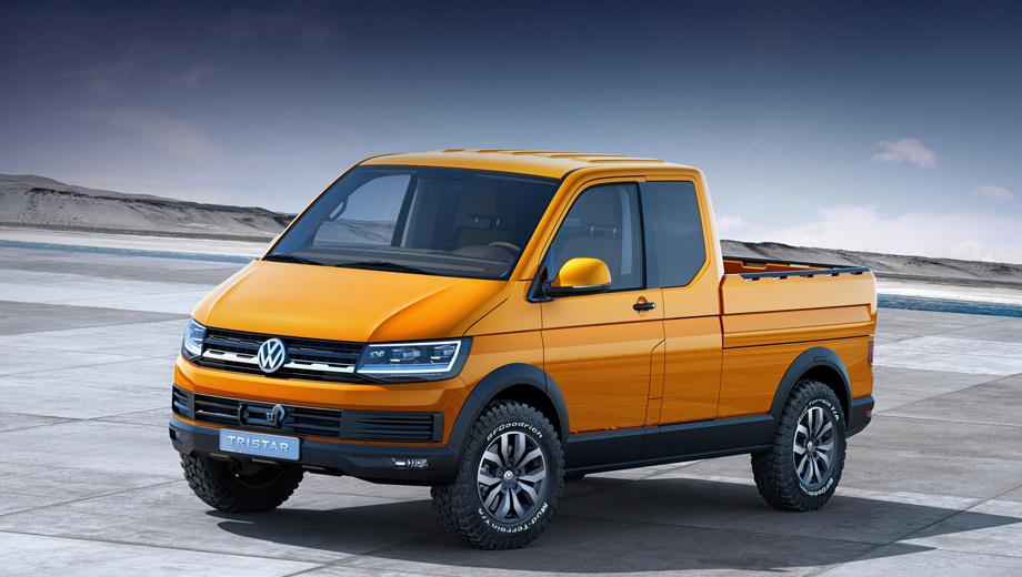Volkswagen tristar,Volkswagen transporter,Volkswagen t6. Длина концепта — 4788 мм, ширина — 2320, высота — 2066 мм, клиренс увеличен на 30 мм. Легкосплавные диски Rocadura несут на себе шины размерностью 245/70 R17.