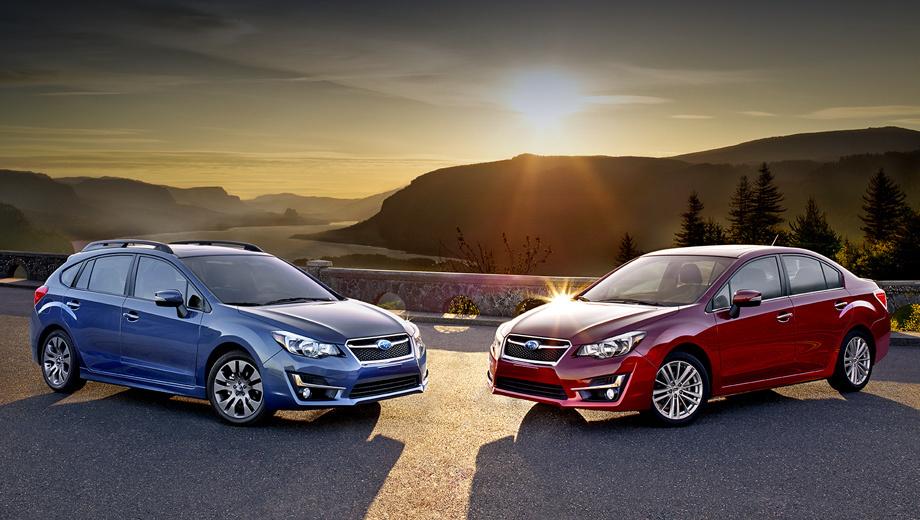 Subaru impreza. Анфас обе версии (седан и хэтчбек) обновились одинаково. А вот сзади у четырёхдверной Импрезы новшеств больше.