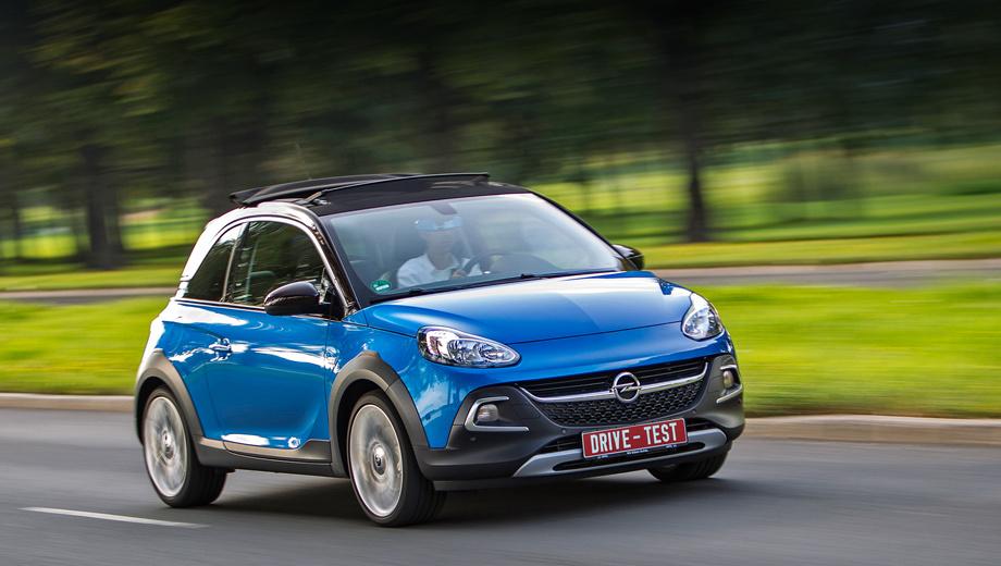 Opel adam rocks. По словам дизайнеров Опеля, силуэт модели построен тремя линиями: струящейся по низу двери (называется «лезвие»), опоясывающей дверную ручку («ударная волна») и окантовывающей хромом крышу (безымянная).