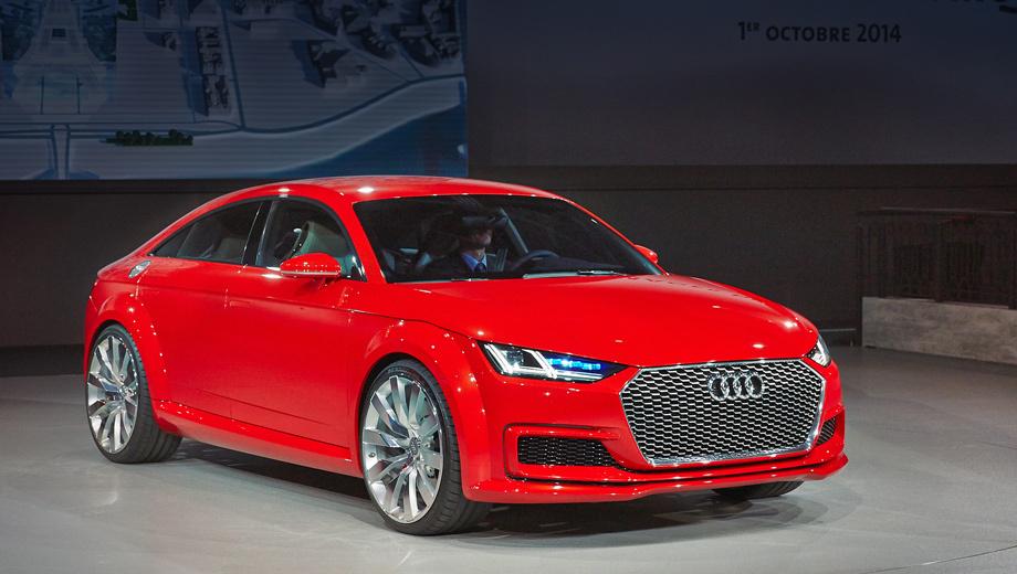 Audi tt sportback. Важной особенностью концепта немцы называют адаптивные фары особой конструкции, разработанные по новой технологии. В каждой фаре имеется модуль из четырёх лазерных диодов. Они генерируют луч, преобразуемый люминофором в чистый и яркий свет, бьющий на несколько сотен метров. Световое пятно появляется при скорости от 60 км/ч и дополняет светодиодный дальний свет.