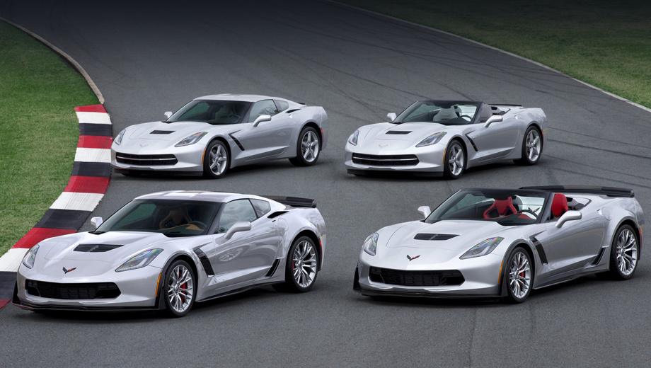 Chevrolet corvette,Chevrolet corvette z06. Линейка Корветов теперь включает четыре модели: базовые купе и родстер, Z06 (на переднем плане) — опять же в двух кузовах.