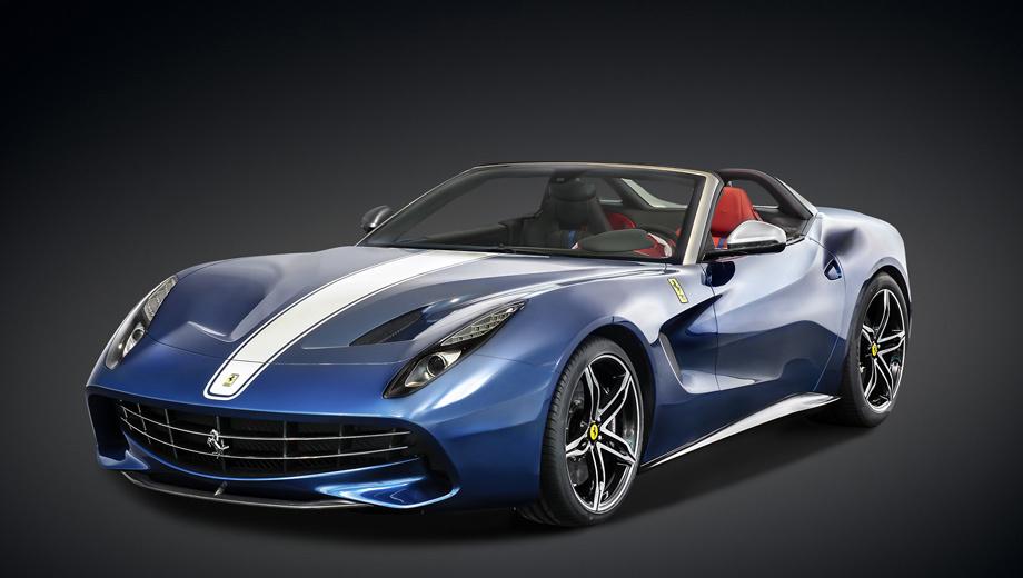 Ferrari f60america. От исходной модели лимитированное издание отличается переработанными носовой частью и крыльями (на них появились юбилейные значки), но прежде всего, конечно, отрезанными крышей и задней стойкой. На смену им пришли дуги безопасности, отделанные углеволокном и кожей.