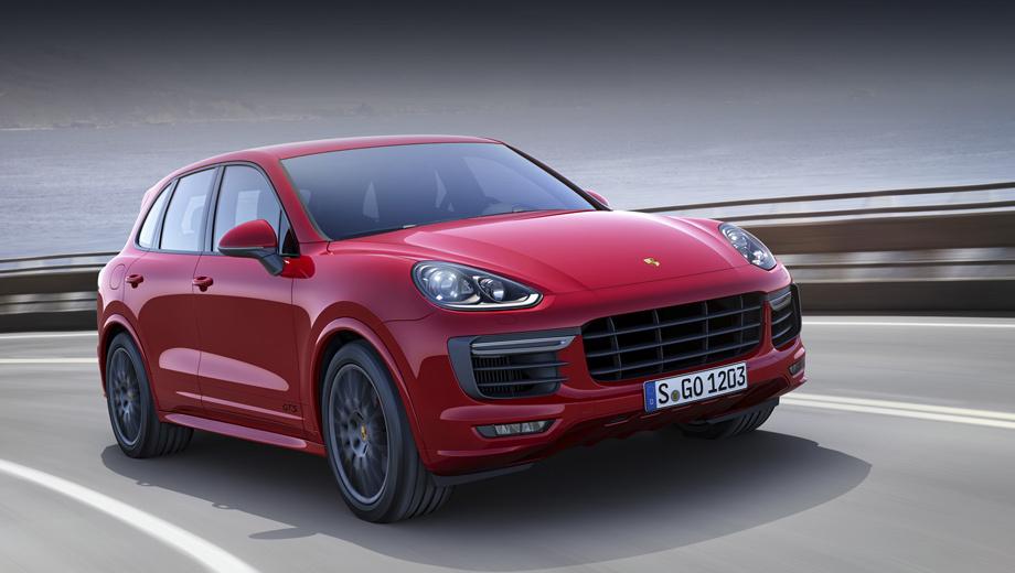 Porsche cayenne,Porsche cayenne gts. Носовая часть «джи-ти-эса» оформлена как на версии Turbo. Тут есть большие воздухозаборники и аэродинамический пакет Sport Design с увеличенными колёсными арками. На передних дверях появились чёрные буквы GTS. Чёрными стали и все остальные надписи на кузове.