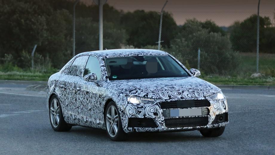 Audi a4. Зеркала переехали из уголков стёкол на дверцы, фары стали чуть тоньше и острее, чем раньше, а в целом — вполне узнаваемый образ.
