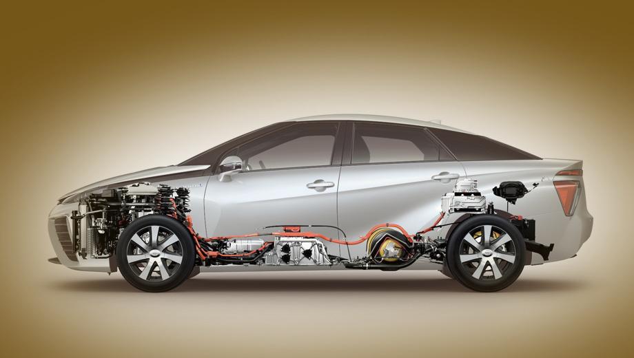 Bmw i5. В Тойоте Mirai, показанной здесь, топливные элементы расположены под передними креслами. Под капотом — силовая электроника и электромотор. Под задним диваном и полом багажника — два водородных баллона (в сумме 122,4 л под давлением 700 бар). За спинками задних сидений — буферная тяговая батарея.