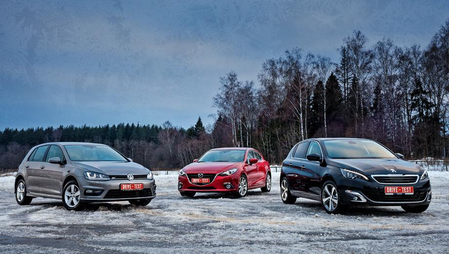 Peugeot 308,Mazda 3,Volkswagen golf. Финансовый кризис превратил групповой кадр в картину «Три бриллианта». Меньше всего повезло Peugeot — продажи «триста восьмого» могут закончиться, толком и не начавшись. Хэтчбеков Mazda 3 и Volkswagen Golf в наличии, считай, нет, а заказ — на март-май по непонятным ценам.