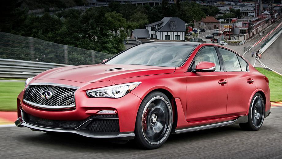 Infiniti q50,Infiniti q50 eau rouge. Внешне шоу-кар Eau Rouge отличался от серийной модели наличием спортивного обвеса кузова.