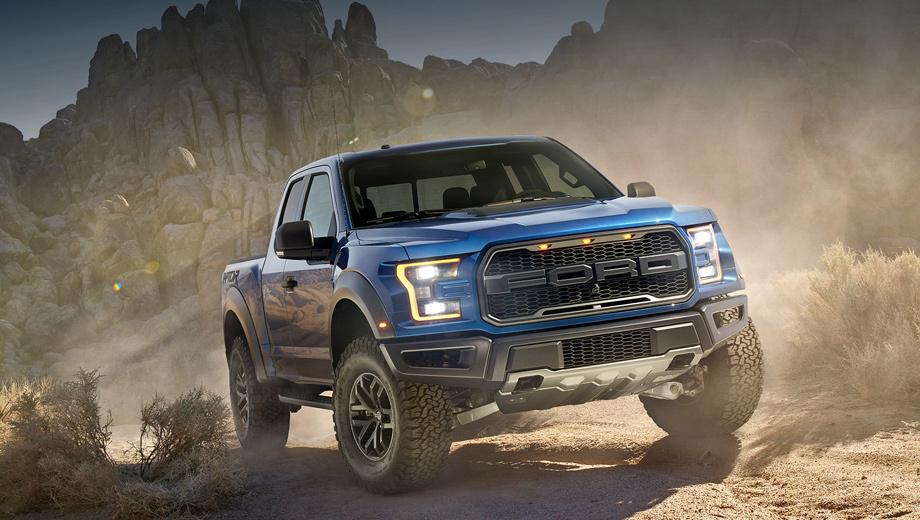 Ford f150,Ford f-150,Ford f150. Модификация Raptor на 15 см шире обычного F-150 — для большей устойчивости на бездорожье. В глаза сразу бросаются характерная решётка радиатора с крупной надписью Ford и тремя жёлтыми огнями, а ещё новый бампер, больше адаптированный к бездорожью, чем на базовой версии.
