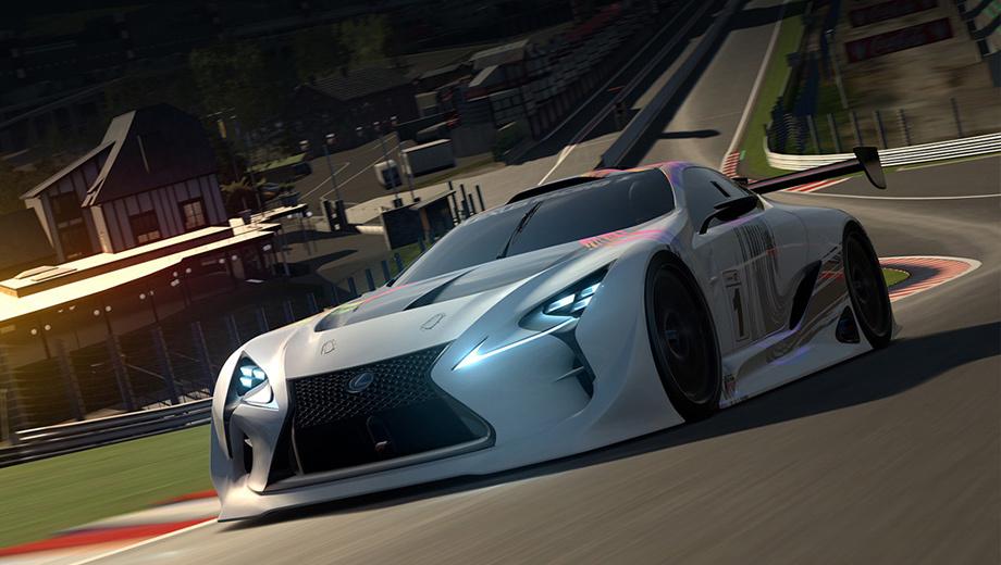Lexus lf-lc. Фары — более эффектные, чем на прообразе. Добавлены углепластиковые вставки, огромное антикрыло, новые пороги.