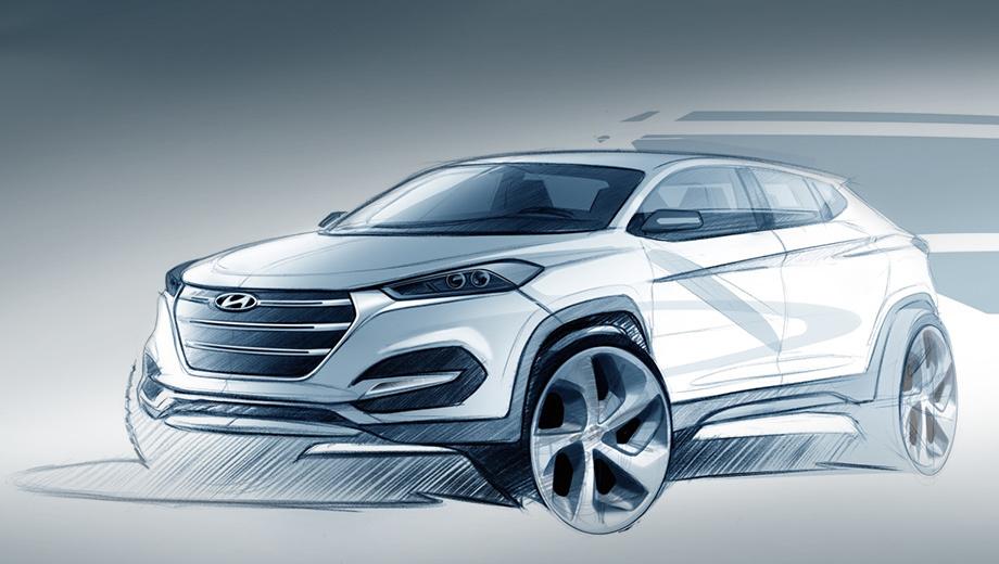 Hyundai ix35,Hyundai tucson. На данный момент компания Hyundai опубликовала первый дизайнерский скетч и видеотизер к нему.