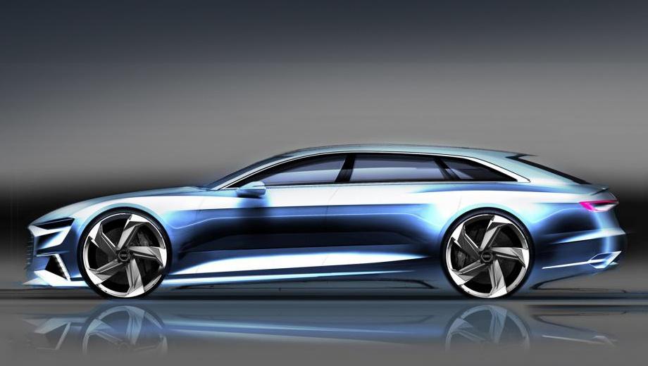 Audi prologue. Первые официальные эскизы выглядят очень лихо, но вполне вероятно, что Prologue Avant будет просто предыдущим Прологом в кузове универсал с намёком на грядущий «сарай» Audi A9 Avant.