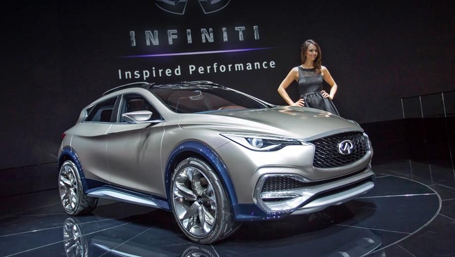 Infiniti qx30. В длину концепт QX30 насчитывает 4430 мм, в ширину — 1815 мм, в высоту — 1520 мм. У серийной машины будут примерно такие же габариты.